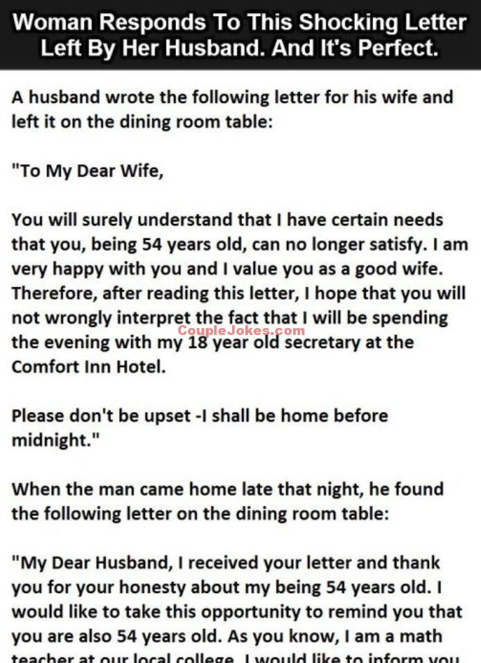 Husband Leaves Shocking Letter For His Wife Then She Responds