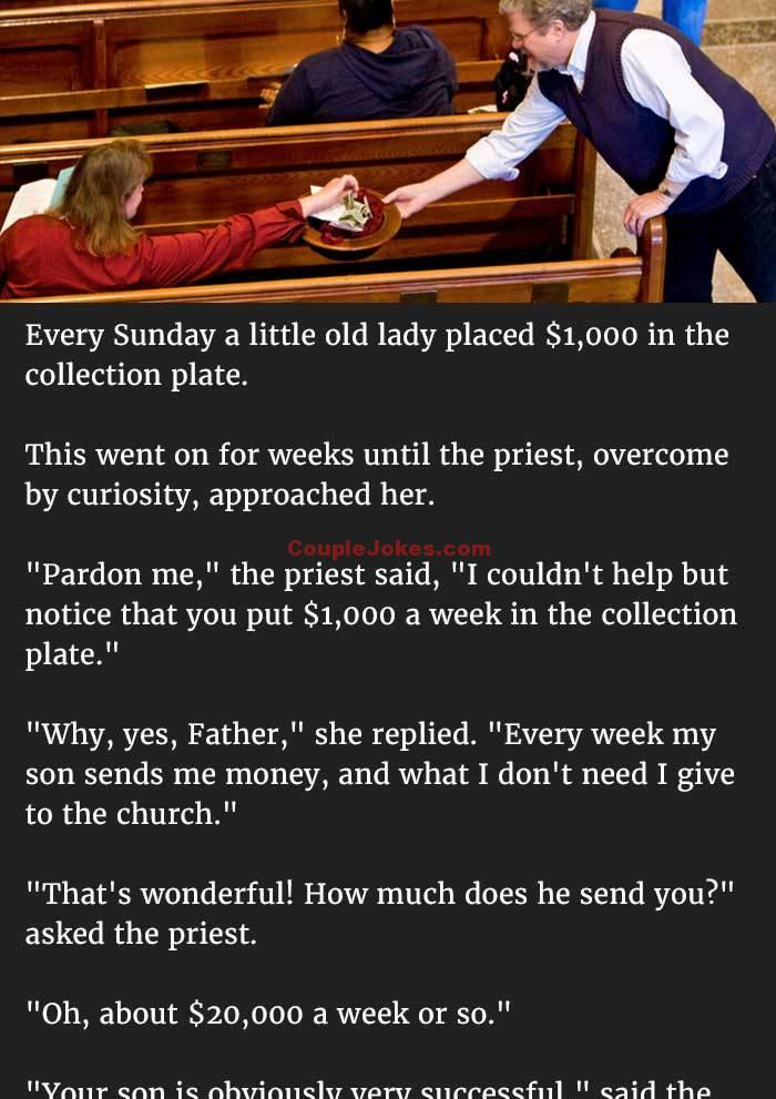 Jokes about giving money to the church