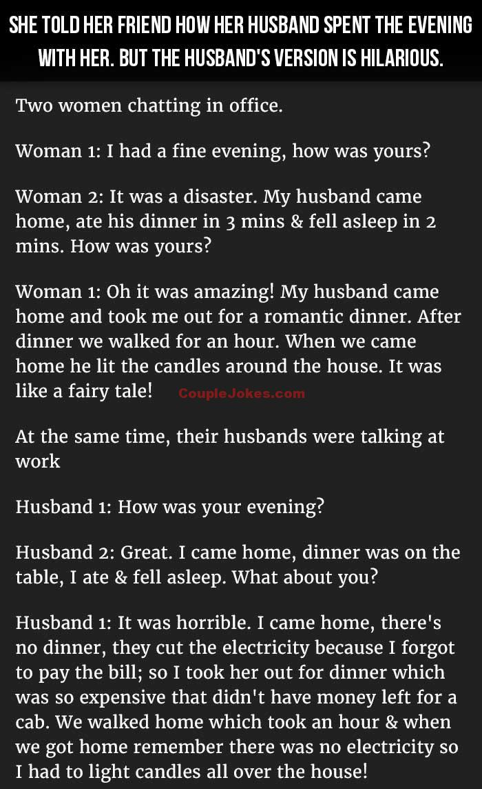 Woman Tells Friend How Her Husband Spent The Evening With