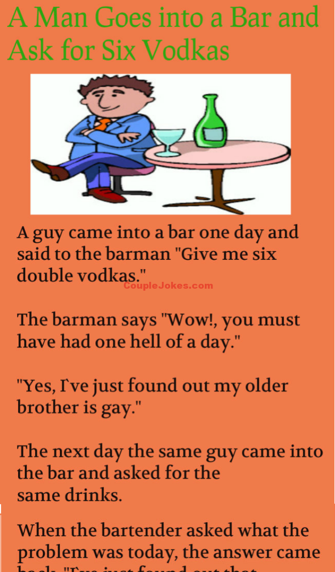 Man In The Bar Asked For Six Vodka Couple Jokes